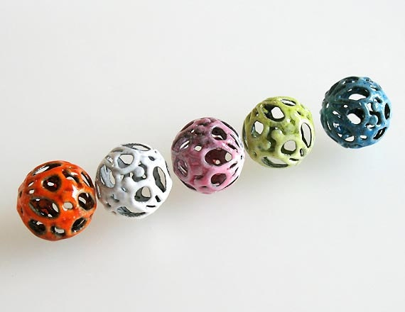 Torch Fired Enamel Beads Multicolor Set of 5