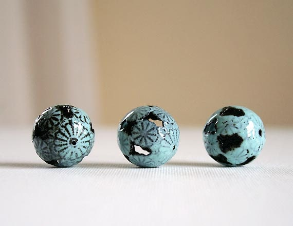 Robins Egg Blue Flower - Large 20 mm Round - Torch Fired Enamel Beads