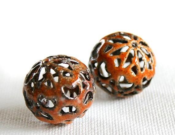 Orange Marmalade Paisley Torch Fired Enamel Beads - Pair