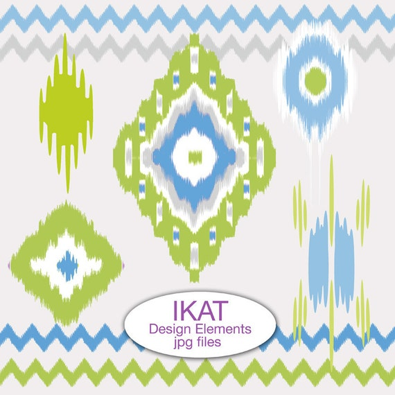 Instant Download. Digital Clip Art Ikat Design Elements, Blue and Green. png files. Personal and Limited Commercial Use