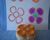 mini flower stamp, hand carved rubber stamp, handmade rubber stamp