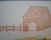 old barn and fence stamp set, hand carved rubber stamp set