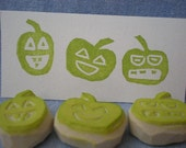 halloween pumpkin stamps, hand carved rubber stamp  set