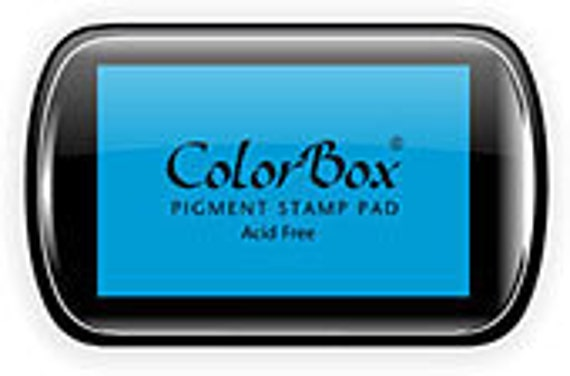 ColorBox pigment stamp pad in Cyan, full size inkpad, great for scrapbooking