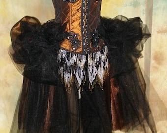 The Copper Alice Vampire Corset Steampunk Tulle Costume M/L Ready To Ship