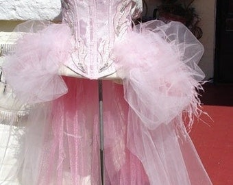 The Coraline - Pink Ostrich Feather Burlesque Corset Costume