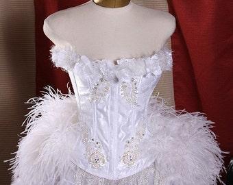 White Swan Wonderland Series Feather Corset Burlesque Costume L