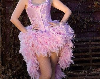 NEW COLOR CHOICES Victoria Velvet the Lilac Jenn Burlesque Feather Corset Gown