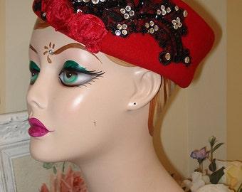 Victoria Velvet Vintage Red & Black Custom Pillbox Hat. . .  So Dita and Divine