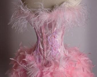 The Victoria Velvet FiFi Pink Feather Corset Costume S/M