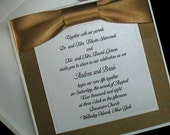 100 Boxed Couture Wedding Invitations,Gold. Your guests will love the ribbons printed with their names.