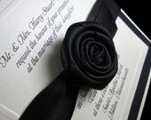 Couture Invitation - Handmade Rose - Boxed Wedding Invite -  Embossed - Black and White Wedding  - Set of 100