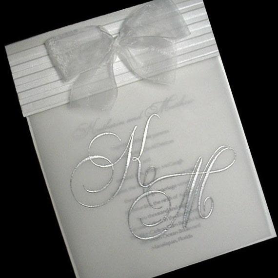 100 Shimmering White Wedding Invitations, Customized Monogram, Fully Addressed and Assembled,