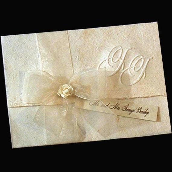 185 Hand made paper and  organza bow wedding invitations, special listing for Ashley.