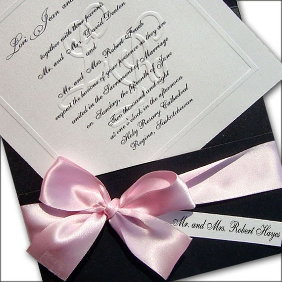 100 Customized Blind Embossed Monogram And Organza Bow Wedding