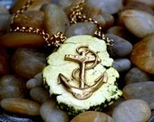 The Yellow Turquoise and Anchor Necklace. FREE WORLDWIDE SHIPPING.