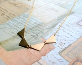 Golden Geometric Triangle Necklace
