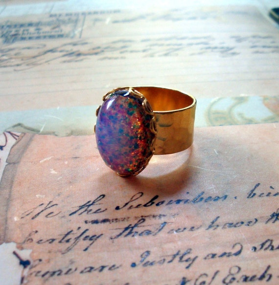 Vintage Glass Fire Opal Ring