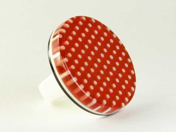 resin ring ' Lucy ' - iconic bold oversized statement ring - ring size 8 1/4 - plastic modern contemporary ring - bold red polka dot ring