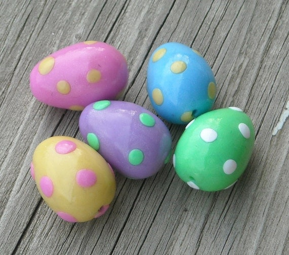 Polymer Clay Beads ~ Pastel Easter Eggs