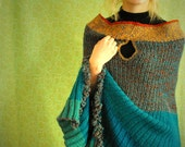 You are BEAUTIFUL-------------blueish green-jade-ocker- brownish mix- stripes knitted LONG cape