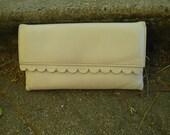 cream leather Jane Shilton  clutch