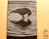 Black Crow - Linoleum block printed hand made notebook.