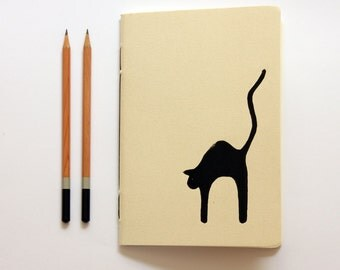 Black Cat - Linoleum Block Printed & Hand Bound Notebook