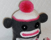 Sock Monkey Earflap Hat - MADE TO ORDER