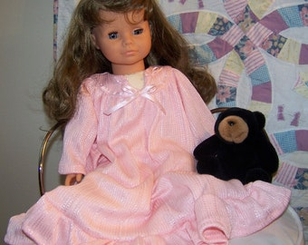 ONLY 2 LEFT ~  Custom Set  ~ Bubble Gum Pink Matching Nightgowns for Girl and Doll ~ Set
