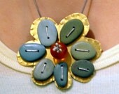 Turquoise Beach Stone Blooming Flower Pendant Necklace