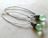 Drop Earrings Mint Green Sterling Silver Gifts for Her