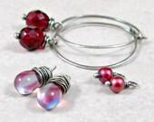Hoop Earrings Pink and Red Trio Sterling Silver
