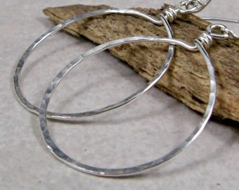 Medium Silver Hoop Earrings Sterling Silver Earrings Hammered Hoops Eco Friendly Jewelry Gifts for Her
