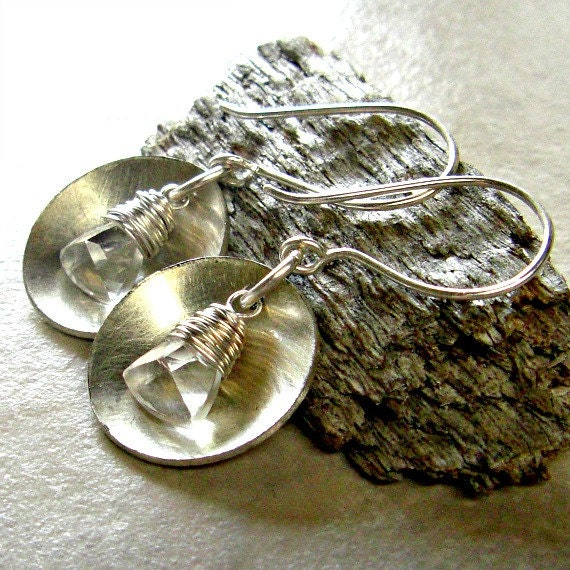 Disc Dangle Earrings Sterling Silver Clear Quartz Trillion Beads