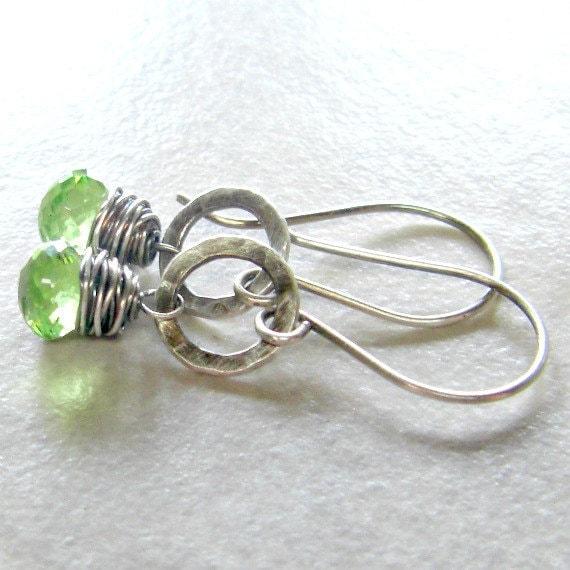 Peridot Gemstone Earrings Fused Fine Silver August Birthstone