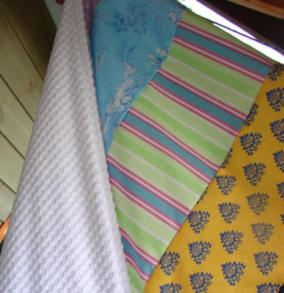 CLOSE OUT SALE Minky Backed Striped Patch large Blanket