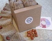 Ballybrae Fingerless Gloves Knitting Kit - Oatmeal with Woven Leather Buttons