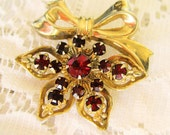 Vintage Gold Tone Five Point Star Pin Brooch, Ruby Red Rhinestones Bow, Shipping Included