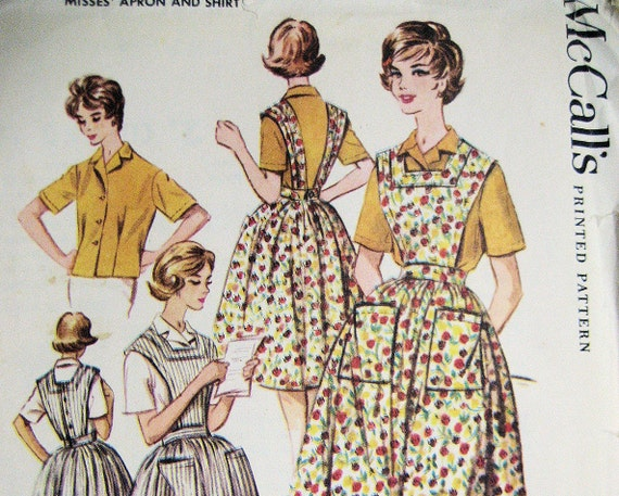 Free Shipping McCall's 2429 Full Apron with  Bodice Size 16, Bust 36  Vintage 60s Used