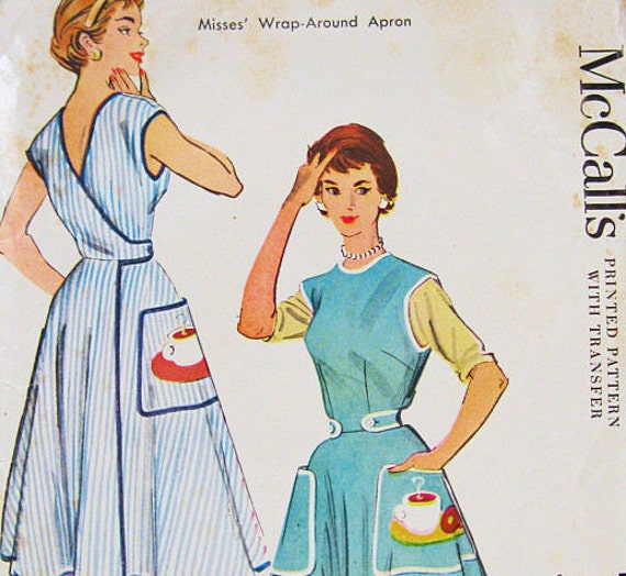 McCall's 1948 Vintage 50s Wrap Apron Sewing Pattern with Large Pockets Size Small (Bust 28.5-30) Shipping Included