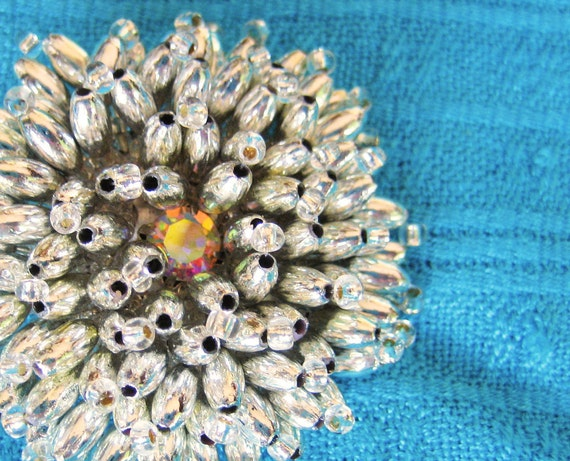 Silver Beaded Flower Star Sunburst, Pin Brooch Vintage, Rhinestone Center, Silver Tone, Shipping Included to USA