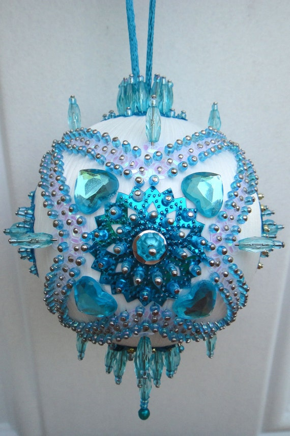 Satin beaded Christmas ornament kit Turquoise Garden by ...