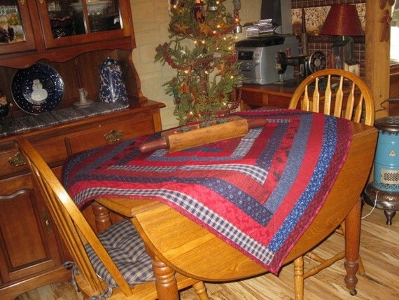 Wall Hanging or Table cloth in Navy & Red