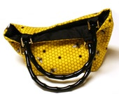 Bee Purse Tote in Hive Silk Lined w/ Matching Pocket Mirror