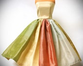 Barbie Doll Dress - Striped Silk Strapless Gown