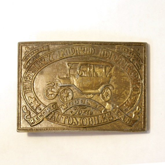 vintage ford MODEL-T record year commemorative brass belt buckle