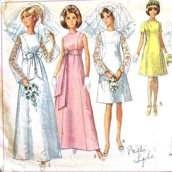Wedding Dress Patterns Empire Line : Wedding or bridesmaid dress pattern a line empire waist b