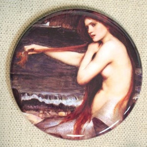 MERMAID - John William Waterhouse - 2.25 inch Pocket Mirror