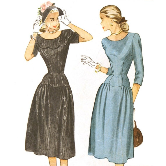 1940s Scallop-Trimmed Party Dress - Simplicity 2190 Bust 30